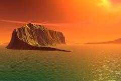 3D rendered fantasy alien planet. Rocks and  sunset Stock Images
