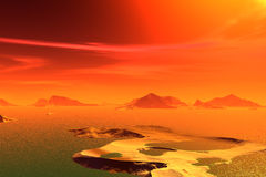 3D rendered fantasy alien planet. Rocks and  sunset Royalty Free Stock Image