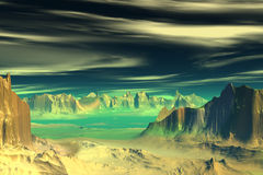 3D rendered fantasy alien planet. Rocks and  sunset Stock Photography