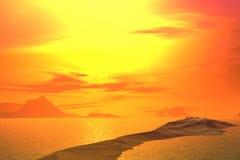 3D rendered fantasy alien planet. Rocks and  sunset Stock Photo
