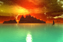3D rendered fantasy alien planet. Sea and  sunset Stock Photography