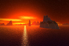 3D rendered fantasy alien planet. Sea and  sunset Royalty Free Stock Images
