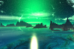 3D rendered fantasy alien planet. Sunset of a sun Royalty Free Stock Images