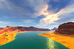 3D rendered fantasy alien planet. Sunset of a sun Stock Photo