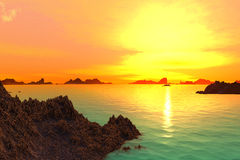3D rendered fantasy alien planet. Sunset of a sun Stock Image