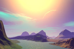 3D rendered fantasy alien planet. Sunset of a sun Royalty Free Stock Photo