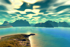 3D rendered fantasy alien planet. Sunset of a sun Royalty Free Stock Photography