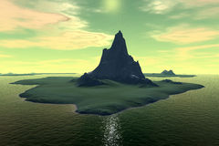 3D rendered fantasy alien planet. Sunset of a sun Stock Images