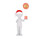 3D rendered figure in Christmas hat holding gift Stock Images