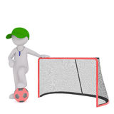 3D rendered figure wearing whistle and green cap. Stands by goal and hold one soccer ball under foot Stock Image