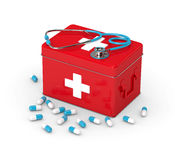 3d rendered first aid kit with pills and stethoscope Stock Photo