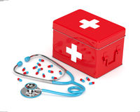 3d rendered first aid kit, stethoscope and pills over white Stock Image