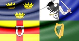 Flag of Four Provinces of Ireland. 3d Rendered Flag of Four Provinces of Ireland Stock Photo