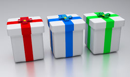 3d rendered gifts. 3d rendered colorful gift boxes stock illustration