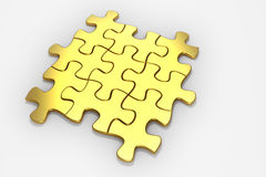 3D rendered Gold jigsaw puzzle. Royalty Free Stock Photos