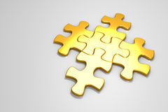 3D rendered Gold jigsaw puzzle. Royalty Free Stock Image