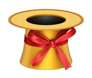 3D rendered golden decoration top hat with red ribbon Royalty Free Stock Photography