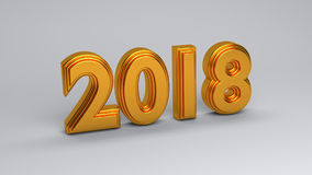 3d rendered golden 2018. 3d rendered isolated golden 2018 in white background Stock Photography