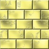 3d rendered golden wall background. Golden bricks texture in geometric style Stock Images