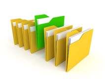 3d green folder between yellow Stock Image