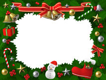 Christmas holly frame with decor,  3D illustration. 3D Rendered Happy Christmas frame Royalty Free Stock Image