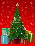 Christmas tree with lot of present , 3D illustration. 3D Rendered Happy Christmas tree Stock Photos