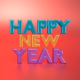 3d rendered happy New year text Royalty Free Stock Images