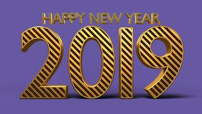 3d rendered happy new year 2019 text. 3d rendered shining happy new year 2019 greetings text Royalty Free Stock Images