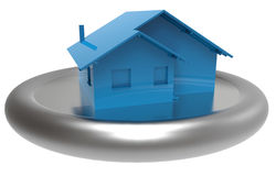 3D rendered house. Isolated 3D blue house on a metallic stand Royalty Free Stock Photo