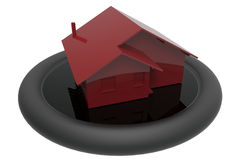 3D rendered house on a matte stand Royalty Free Stock Photography