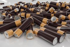 3D rendered illustration of alkaline batteries Royalty Free Stock Image