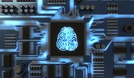 3D rendered illustration of artificial intelligence electronic circuit. Microchip with glowing brain.  Royalty Free Stock Image
