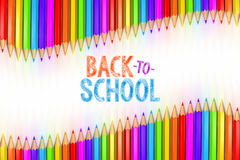 3d rendered illustration of Back to School graphic with ribbon of rainbow colored pencils Royalty Free Stock Images