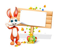 Brown bunny with big white sign Royalty Free Stock Images