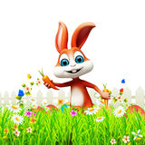 Brown bunny with eggs in garden. 3d rendered illustration of Brown bunny with eggs in garden Stock Photo