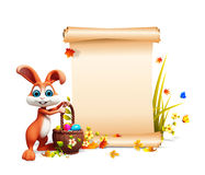 Brown Easter bunny with big sign and eggs basket Royalty Free Stock Images