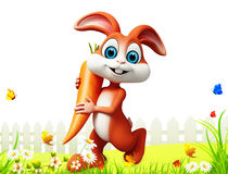 Brown easter bunny with carrot in the garden. 3d rendered illustration of brown easter bunny with carrot in the garden Stock Image
