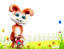Brown easter bunny with eggs basket Stock Photography