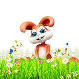 Brown easter bunny with eggs in garden Royalty Free Stock Image