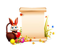 Brown Easter bunny pick up the eggs with sign Royalty Free Stock Images