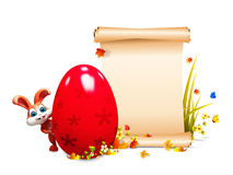Brown Easter bunny with sign and red big egg Royalty Free Stock Photography