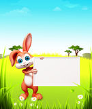 Brown standing easter bunny with big sign Stock Photo