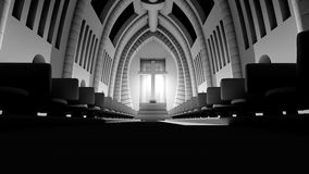 3D rendered Illustration of a Cathedral Interior Royalty Free Stock Photo