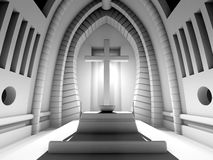 3D rendered Illustration of a Cathedral Interior Royalty Free Stock Photography