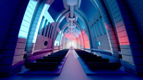 3D rendered Illustration of a Cathedral Interior Stock Photos