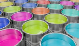 3D rendered illustration of colorful paint buckets Royalty Free Stock Image