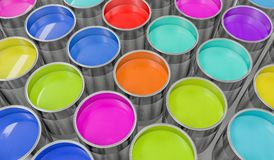 3D rendered illustration of colorful paint buckets Stock Photos
