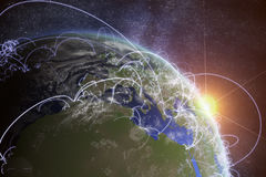 3D rendered illustration of Earth and connected cities. Global network and globalization concept.  Stock Photos