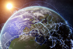3D rendered illustration of Earth and connected cities. Global network and globalization concept.  Royalty Free Stock Photo
