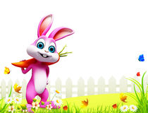 Easter bunny with carrot. 3d rendered illustration of easter bunny with carrot Stock Image